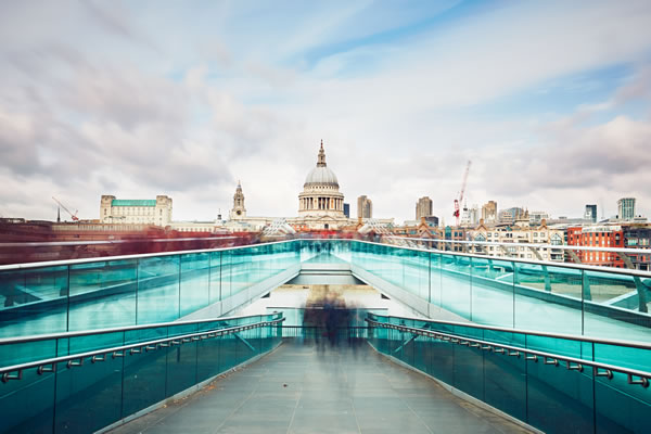 Millennium Bridge with view of St Paul's Cathedral