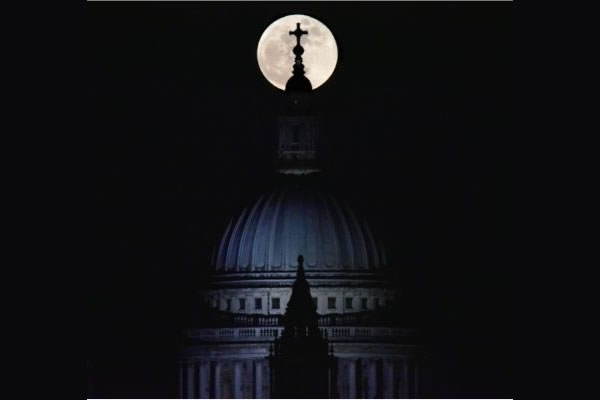 Moon over St Paul's Cathedral